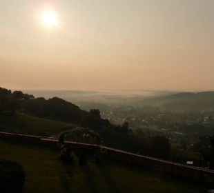 Sonnenaufgang von der Terrasse Burghotel Deutschlandsberg