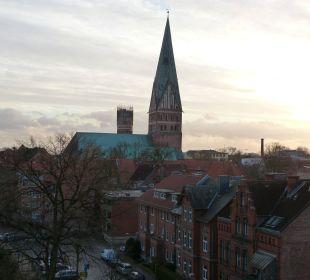 St. Johannis und Wasserturm von der Suite aus Romantik Hotel Bergström