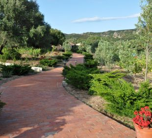 Weg durch den Garten zum Restaurant Hotel Parco Degli Ulivi