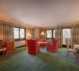 Wohnraum der Panoramasuite Hotel Pulverer