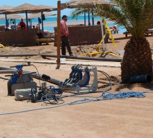 Dauerbaustelle am Strand