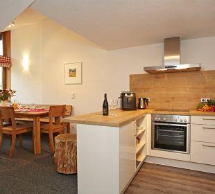 Küche und Essplatz FeWo Siebenschläfer Schwandenhof Ferienwohnungen