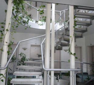 Heller Treppenaufgang macht Spaß trotz Fahrstuhl AltstadtHotel an der Werra