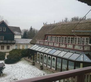 Ausblick in den Innenhof Hotel Forsthaus Damerow