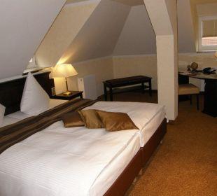Schlafraum in Suite 407 Burghotel Staufeneck
