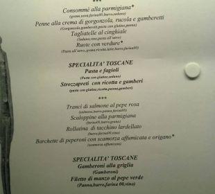 Menu (kolacja) Park Hotel Marinetta