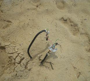 Nicht isolierte Stromkabel am Strand