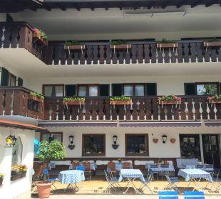 Hotel und Biergarten aus Sicht der Straße Hotel Bayerischer Hof