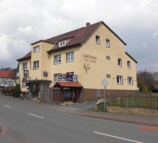 Blick von Kreuzung  Gasthof Königshof Edersee