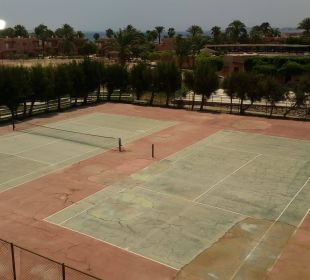 Aussicht auf die gepflegten Tennisplätze