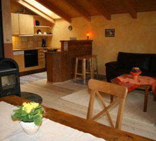 Wohnbereich Blick von der Essecke Ferienwohnung Haus Rosenrot