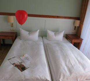 Schlafzimmer mit Begrüßung Villa Usedom