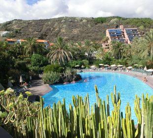Blick vom Restaurant zum Haupthaus  Hotel Hacienda San Jorge