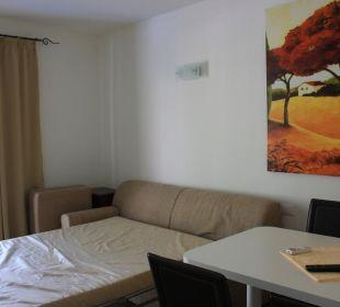 Der Wohn- Schlafraum mit ausgezogener Couch Residenza Le Due Torri