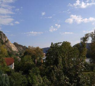 Ausblick vom Zimmerbalkon Gartenhotel Pfeffel