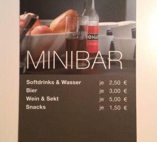 Die Preise unserer Minibar The Madison Hotel Hamburg
