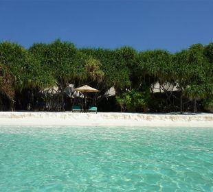 Zeltvilla aus Sicht Lagune Hotel Banyan Tree Madivaru