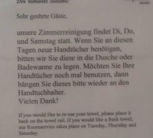 Hinweis über Zimmerreinigung Hotel Margeritenhof