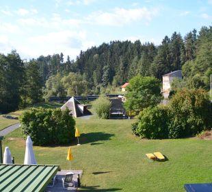 Liegewiese und esoterisches Angebot Wohlfühlhotel Liebnitzmühle