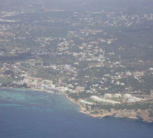 Bucht von Talamanca von oben Hotel Simbad