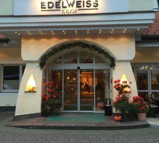 Eingang am Abend Edelweiss Grossarl - Der Stern in den Alpen