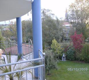 Blick vom Balkon auf den Stadtpark Ferienwohnungen & Pension Domicil am Stadtpark