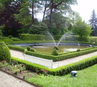 Halb gefüllter Schloßbrunnen Hotel Schloss Schweinsburg