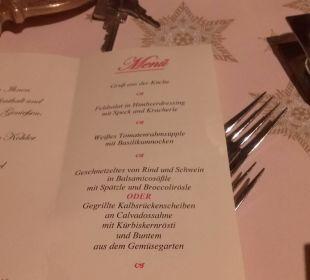 Menuekarte Tag 1 Hotel Engel Kohler
