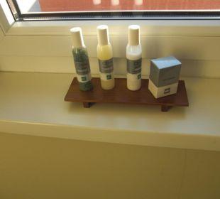 Badesalz, Duschgel, Shampoo und Schuputzset