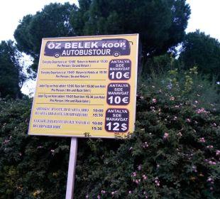 Transferschild in die Umgebung Gloria Verde Resort