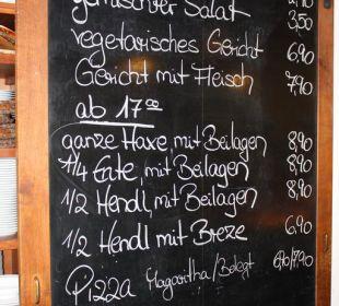 Speisekarte der Braustube Griesbräu zu Murnau