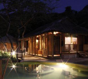 Villa bei Nacht Hotel Six Senses Ninh Van Bay