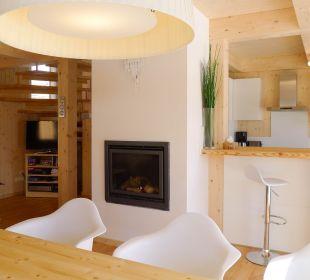 Wohn/Essbereich mit Sichtkamin Chalet Triebenstein