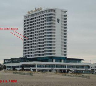Hotel vom Strand aus gesehen Hotel Neptun