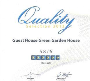 Unsere Urkunde vom letzten Jahr. Besten Dank. Guest House Green Garden House