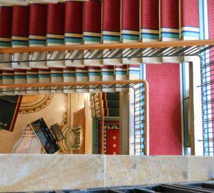 Treppenhaus von oben mit Flügel Art Deco Hotel Montana Luzern