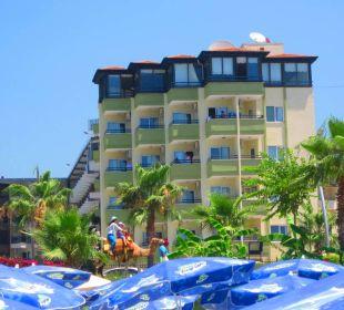 Widok z plaży na hotel Hotel Krizantem