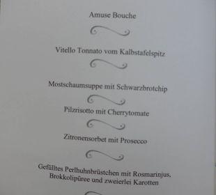Menüfolge des Galadinners Hotel Trattlerhof