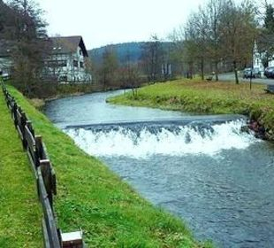 Blick auf Restaurant und Schänke Limbacher Mühle