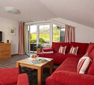 Wohnzimmer WeWo Siebenschläfer Schwandenhof Ferienwohnungen