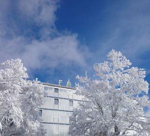 Winterlicher Blick von außen  Familotel Hotel Feldberger Hof