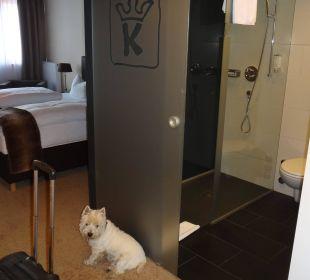 Etwas durchsichtige Schiebetür im modernen Bad Hotel Karwendelhof
