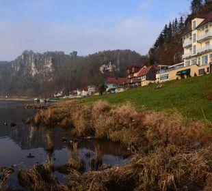 Blick auf die Bastei Hotel Elbschlösschen