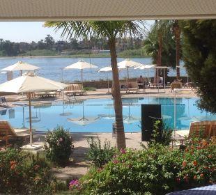 Blick von der Hotelterrasse Achti Resort Luxor