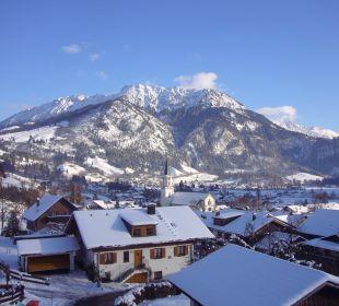 Blick vom Balkon im Winter Gästehaus Wineberger