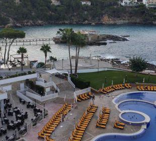 Blick von Balkon auf Pool, Terrassen, Insel Olimarotel Gran Camp de Mar