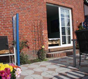 Terrasse Hasenstall Ferienhaus Wattkuckuck