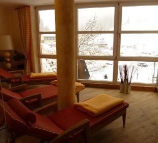 Ruheraum mit Blick auf Piste Hotel Lamark