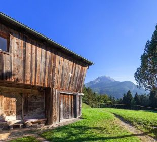 Alter Feldkasten mit Watzmann Pension Auf'm Feggenlehen