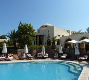 Pool mit Sonnenliegen und -schirmen
